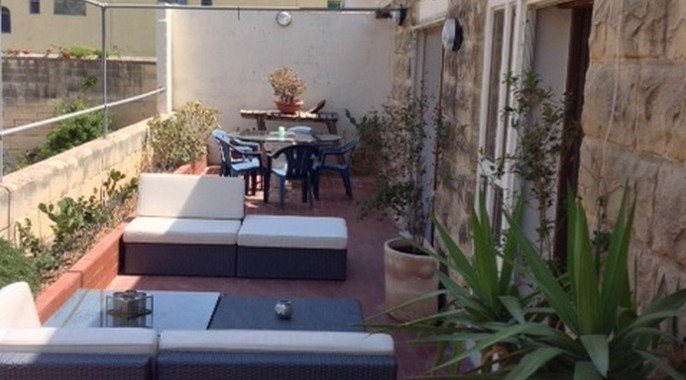Terrace with furniture in St. Julians