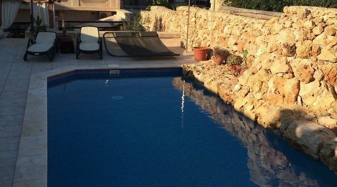 view from pool gozo real estate