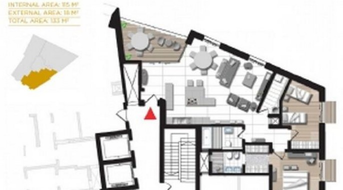Plans of Brand New 2 bedroom apartment for Sale in Tigne Point